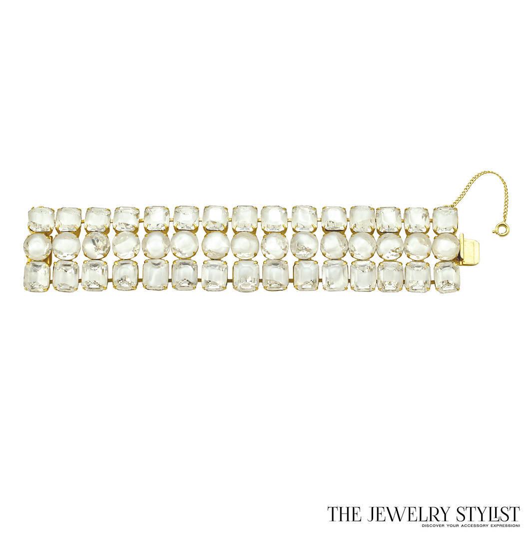 Sherman-style White Rhinestone Necklace and Bracelet Set
