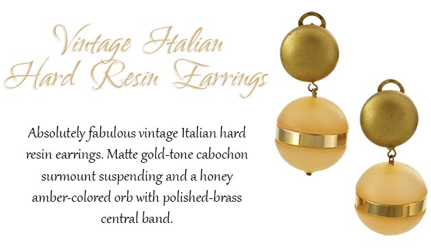Vintage Italian Hard Resin Earrings