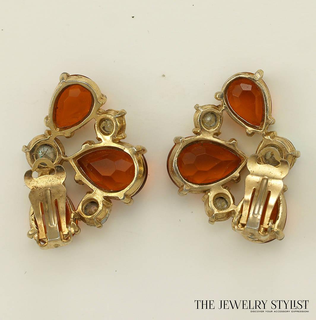 Vintage Orange and Aurora Borealis Selro Earrings Back View