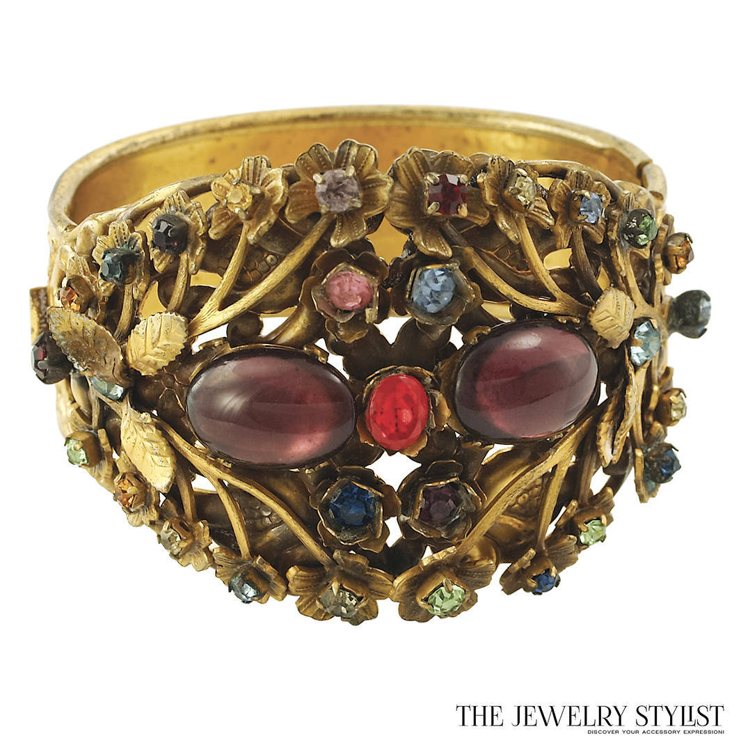 DeMario cuff Gold-tone with Amethyst-colored Oval Cabochons and Rhinestone Accents