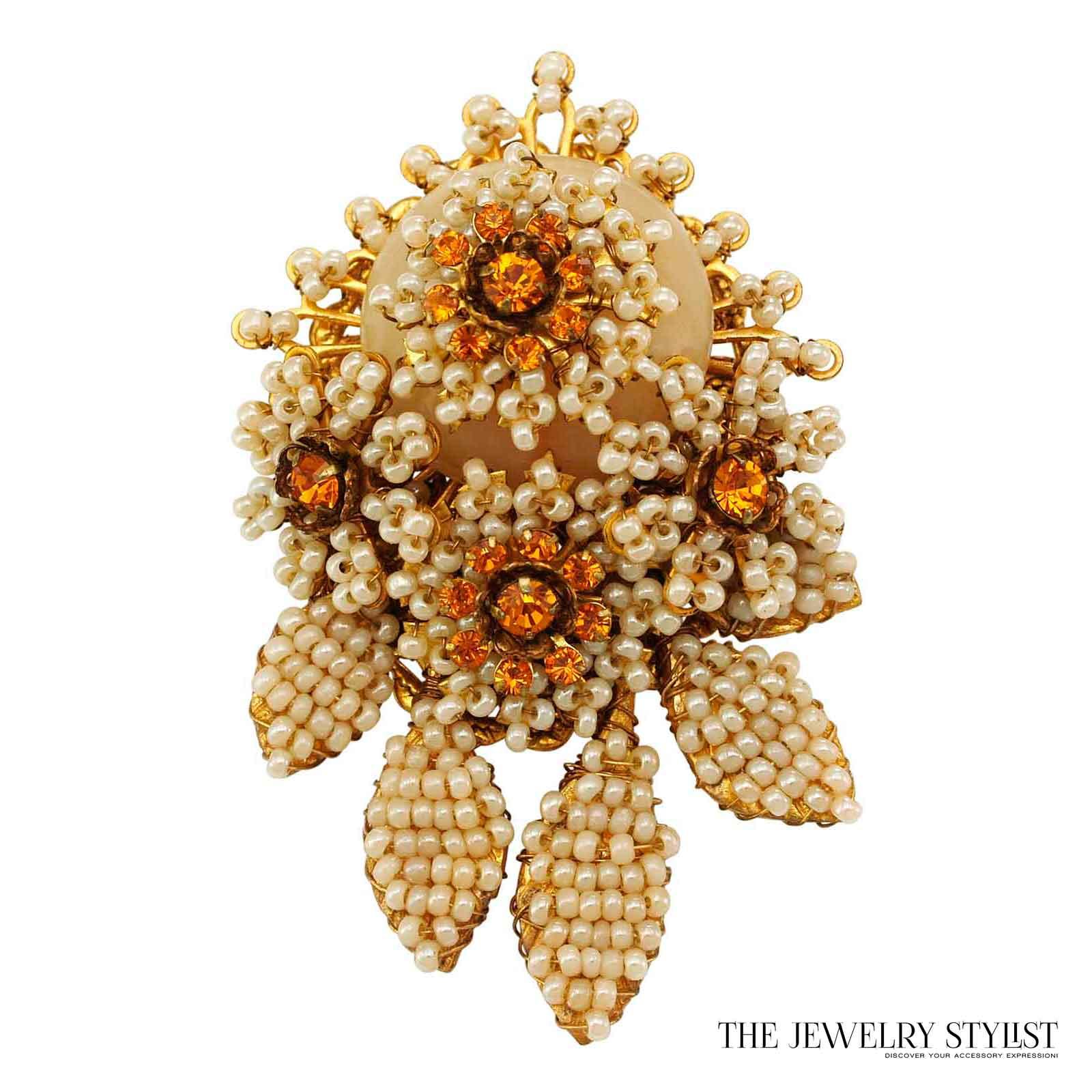 Vintage Stanley Hagler Floral Style Seed Bead Brooch