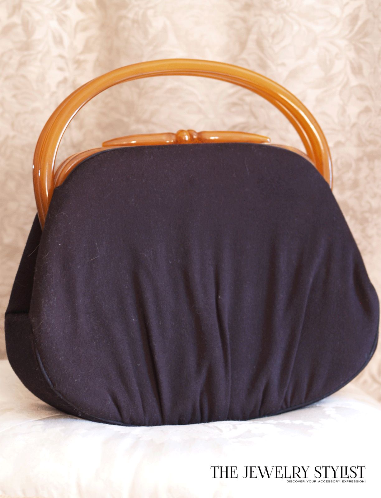 !940s Lewis Bakelite Wool Handbag Purse