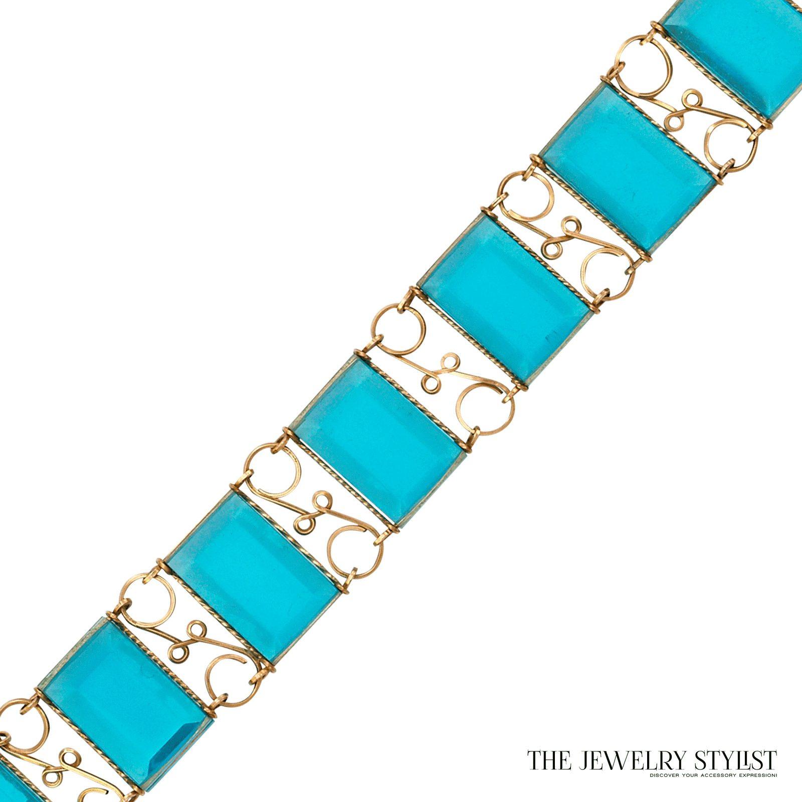 Vintage Faceted Resin Hand-Wired Link Bracelet Back