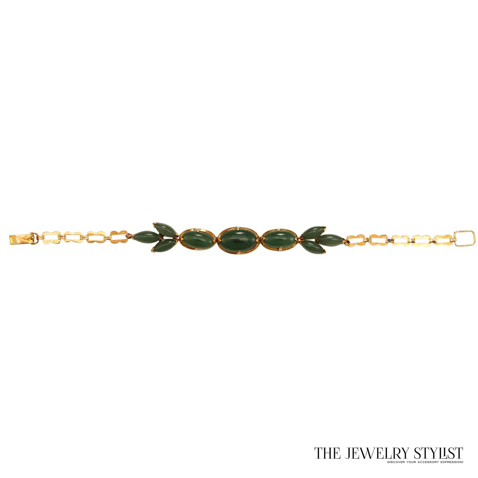 Vintage 14k Caribe Genuine Jade Bracelet
