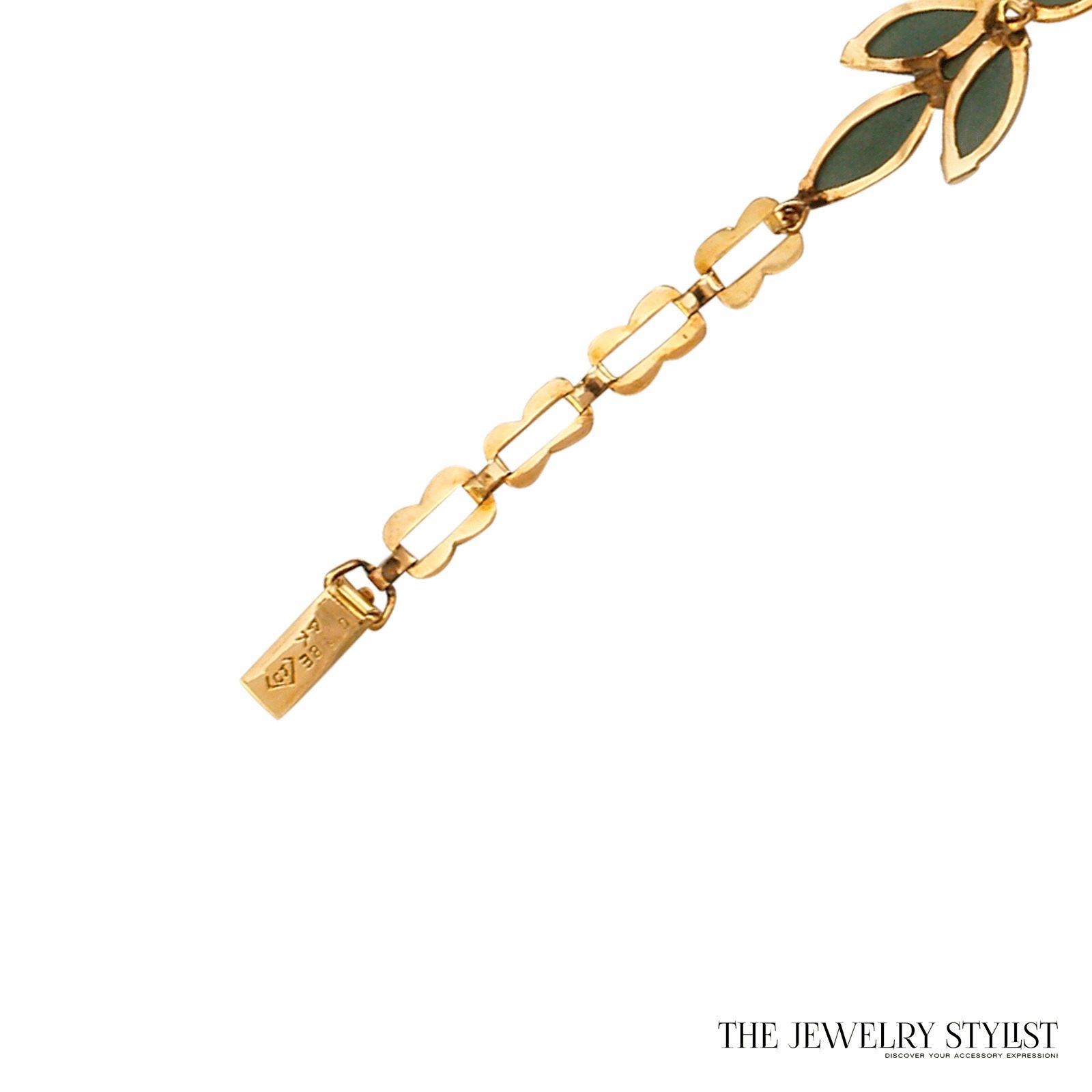 Vintage 14k Caribe Genuine Jade Bracelet. Beautiful 14k link jade bracelet mark