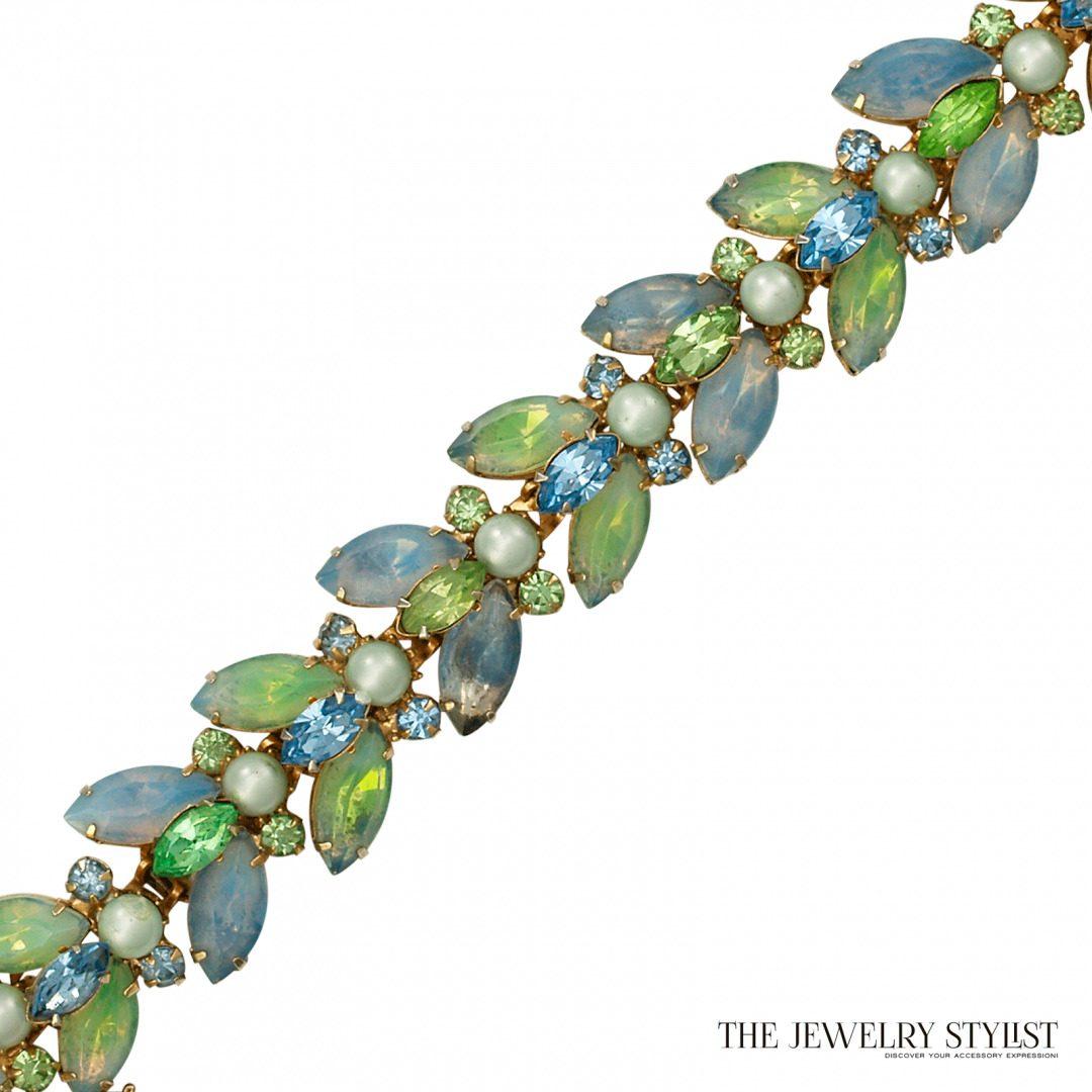 Kramer Blue and Blue Green Opalescent Rhinestone and Pearl Bracelet