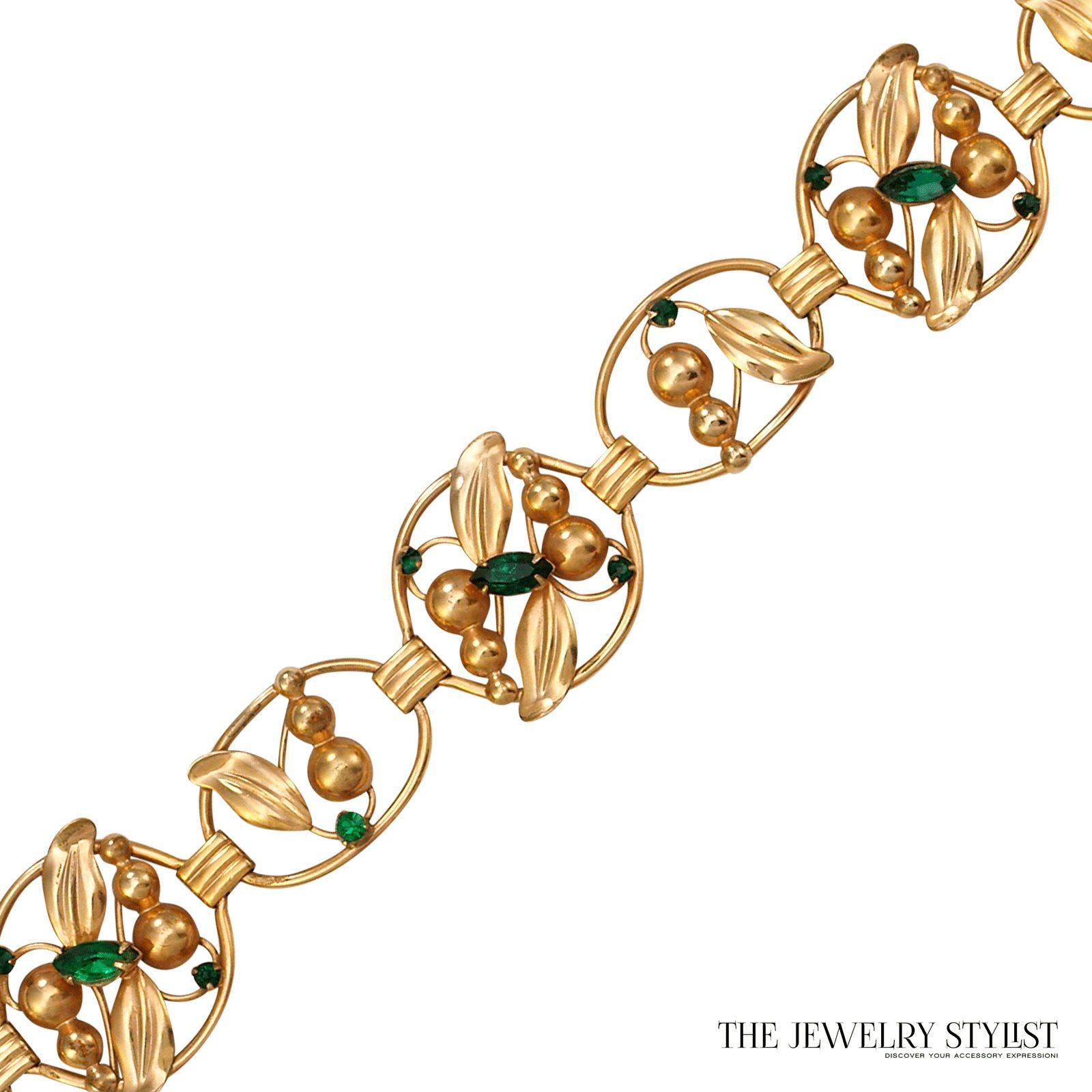 Vintage Gold Filled Rhinestone Bracelet by M & S
