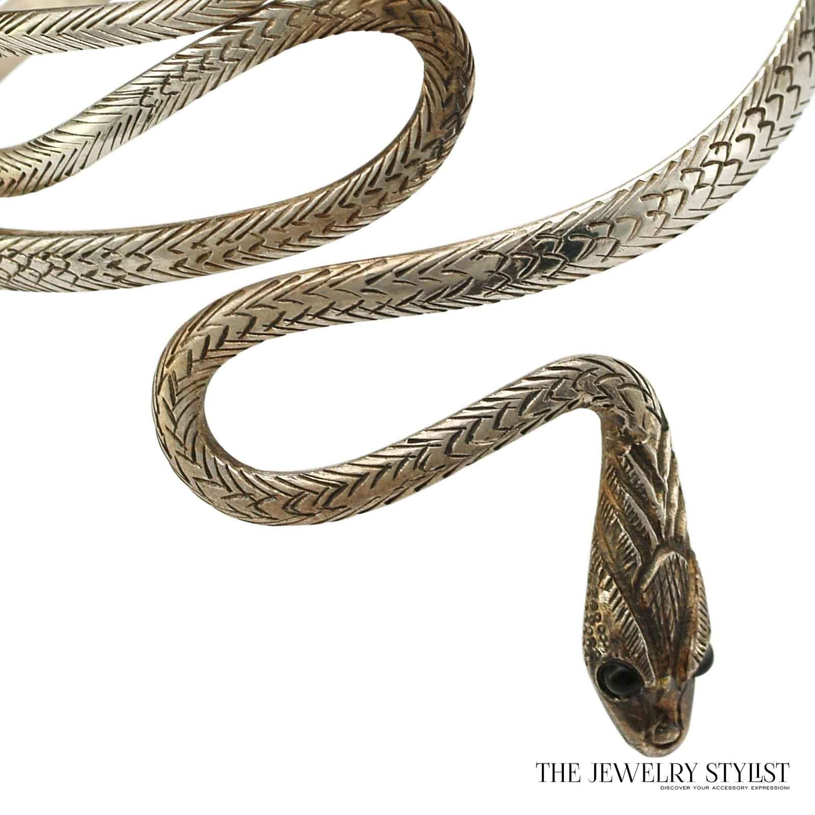 Sterling Upper Arm Coiled Snake Bracelet