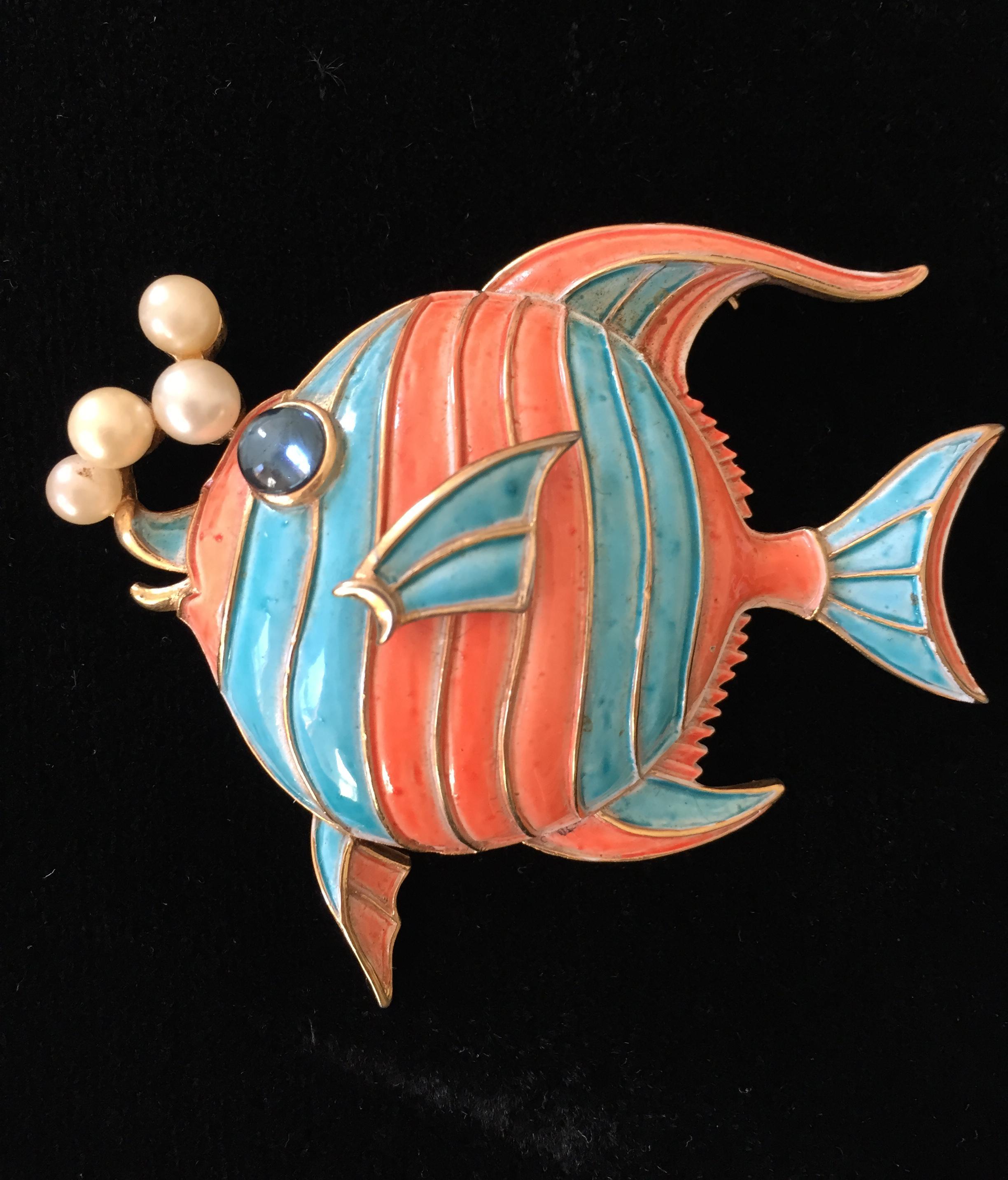 Fabulous Trifari Enamel Angelfish Pin with Faux Pearls