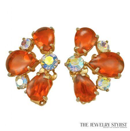 Vintage Orange and Aurora Borealis Selro Earrings