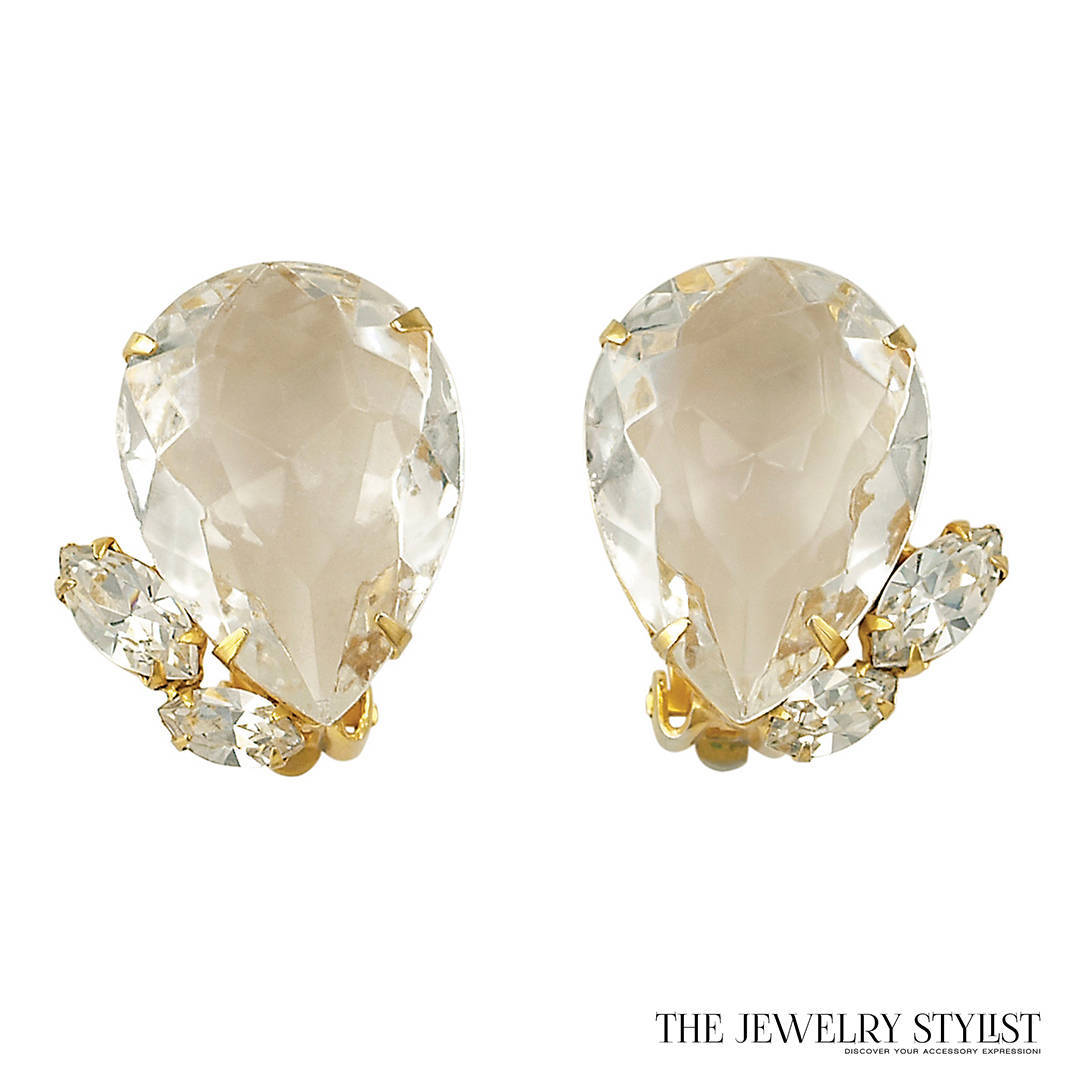 Scaasi Earrings with Huge Pear-Shaped Rhinestones