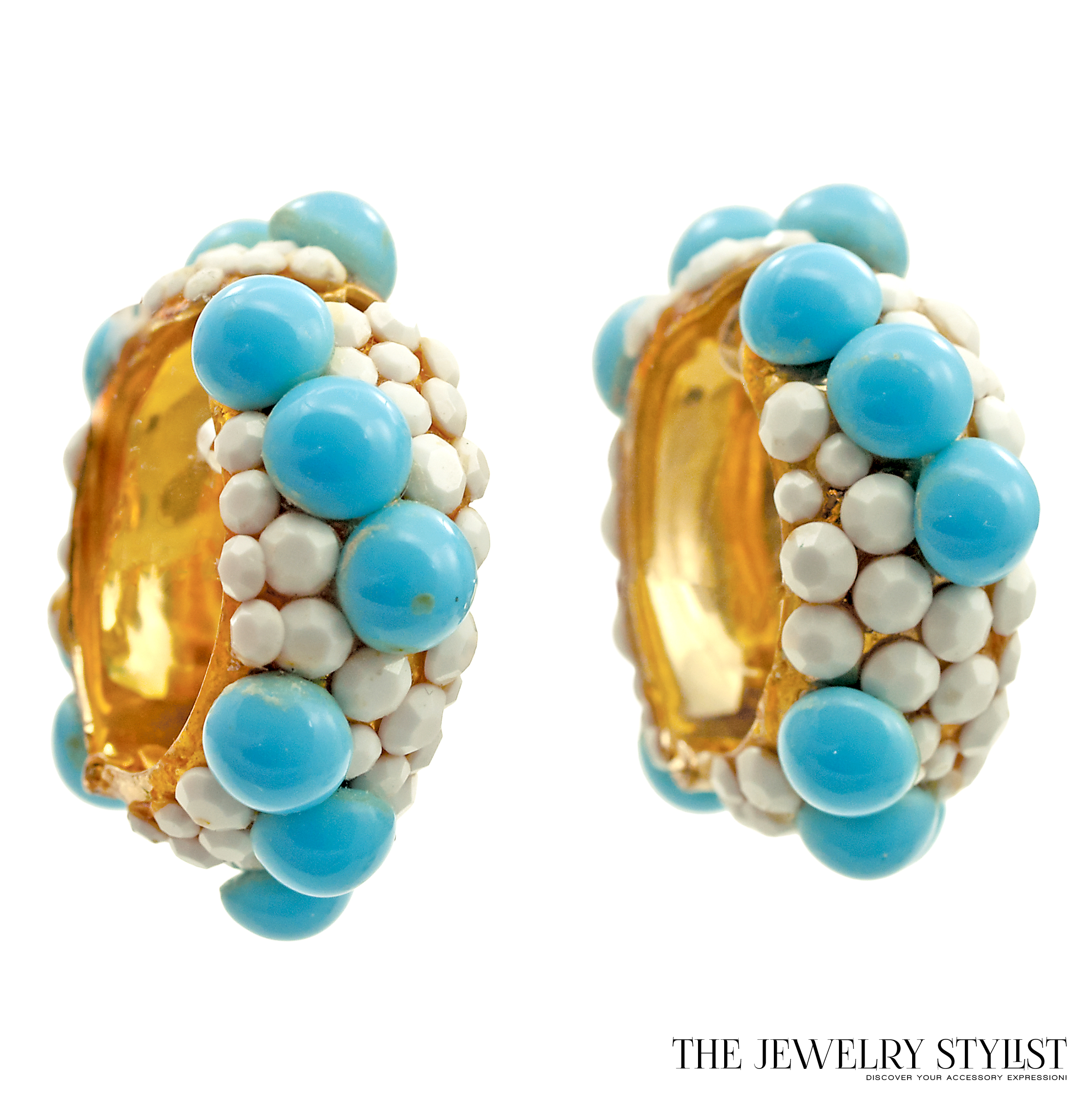 Vintage Wedding Band Earrings with Turquoise and White-Colored Rhinestone Accents