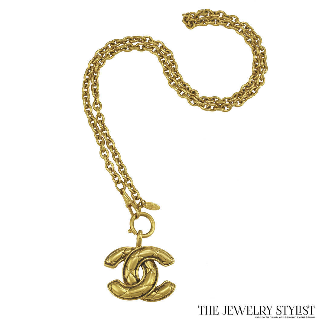 Vintage Chanel Big CC Logo Quilted Pendant Necklace