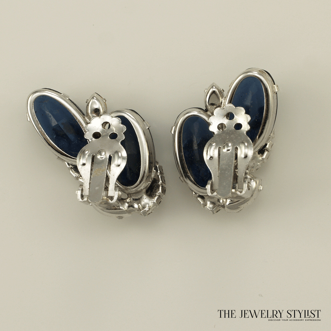 Unsigned Blue and Crystal Rhinestone Clip Earrings Back View