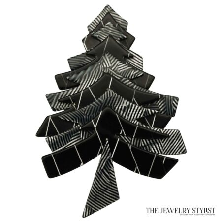 Black and white Lea Stein Limited Edition Christmas Tree Pin