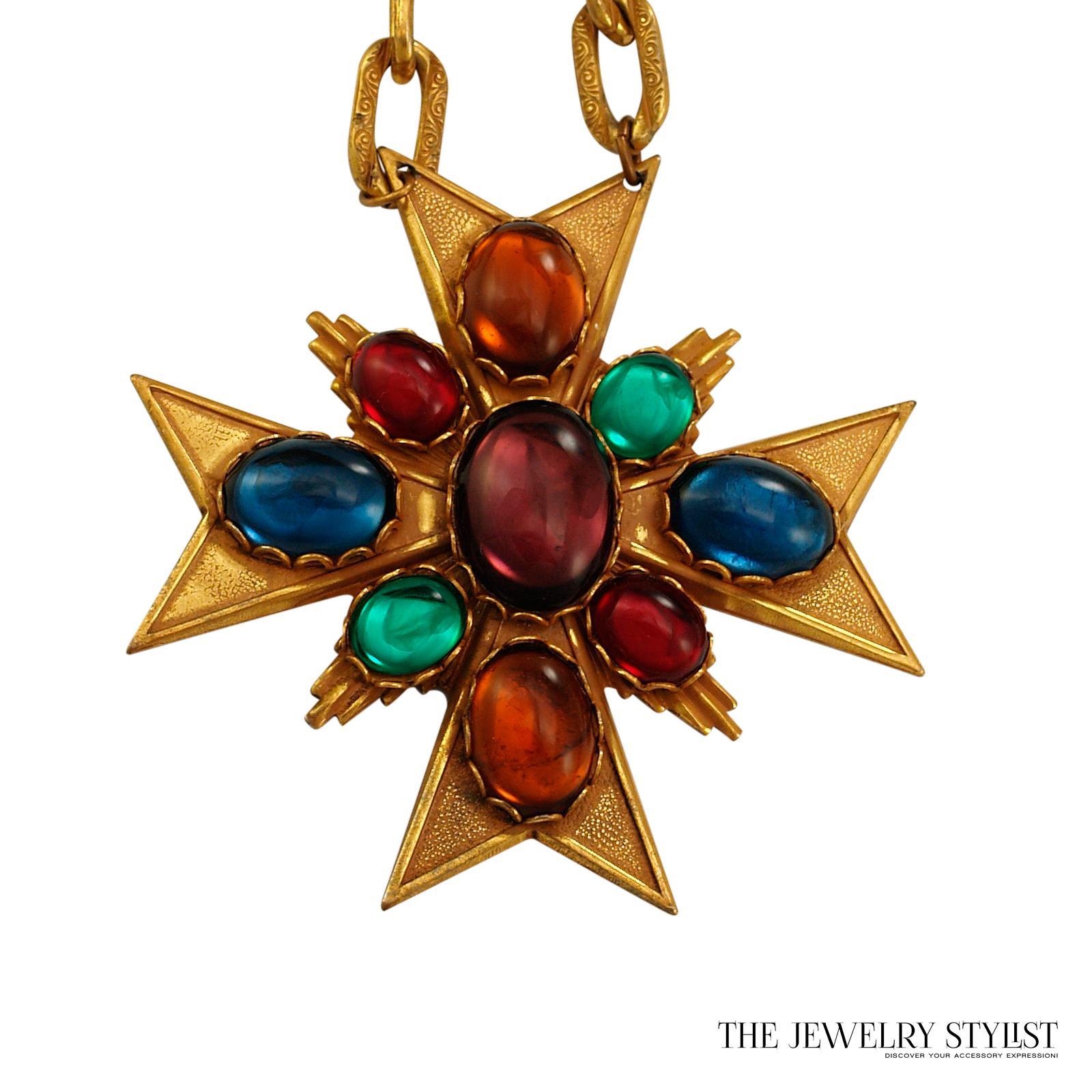 Miriam Haskell Maltese Cross Pendant Necklace