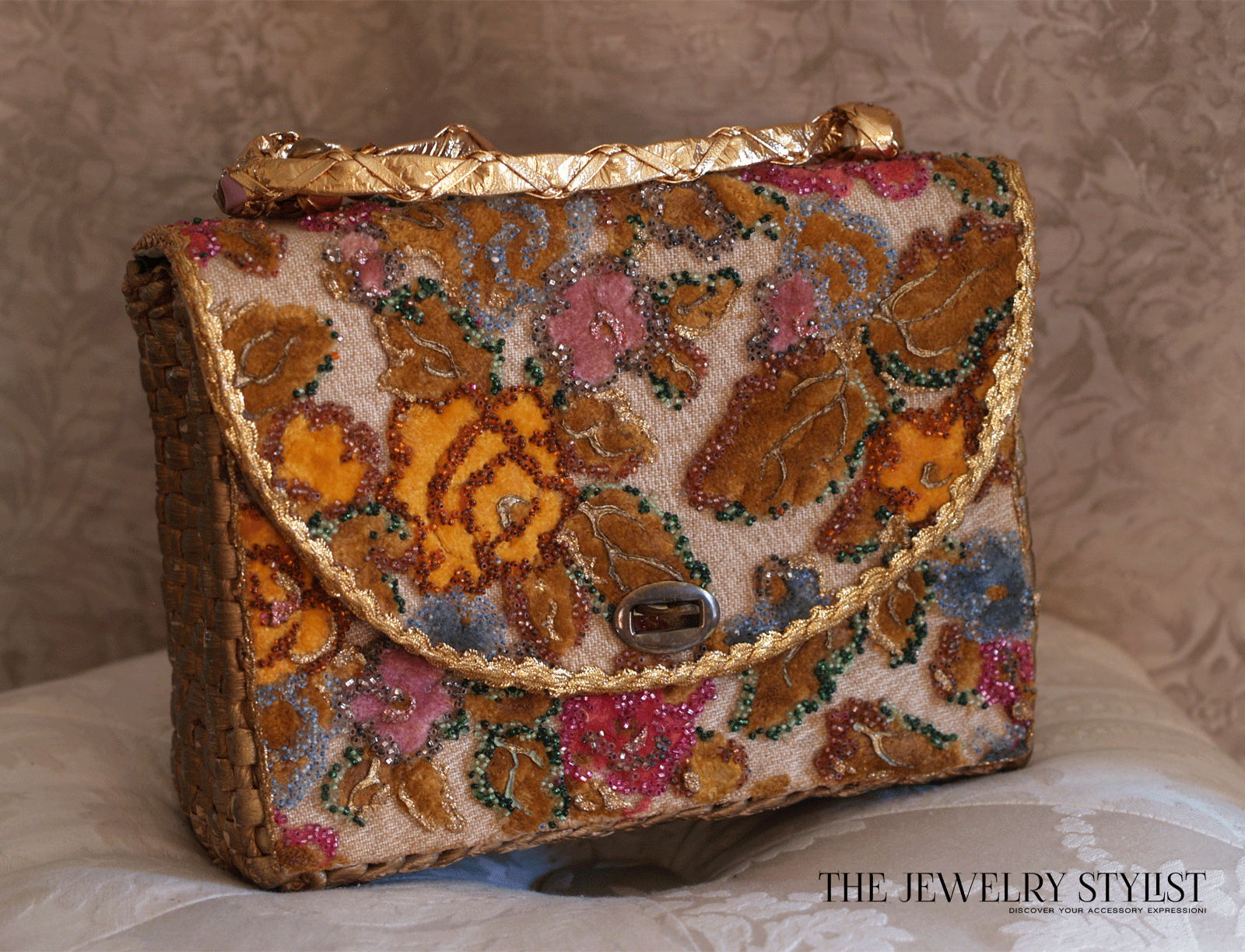 1960s Midas of Miami Floral Purse with Gilt Trim
