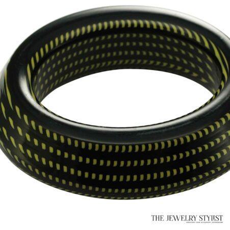 Chunky Italian Black & Green Hard Resin Bangle