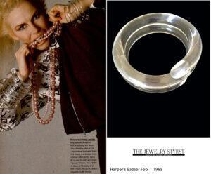 Judith Hendler spiral bypass clear acrylic bracelet.