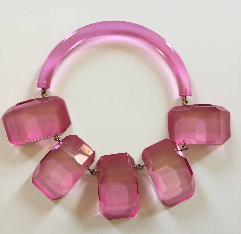 Rare 1980s Hot PInk Judith Hendler Multi-plaque Collar Necklace