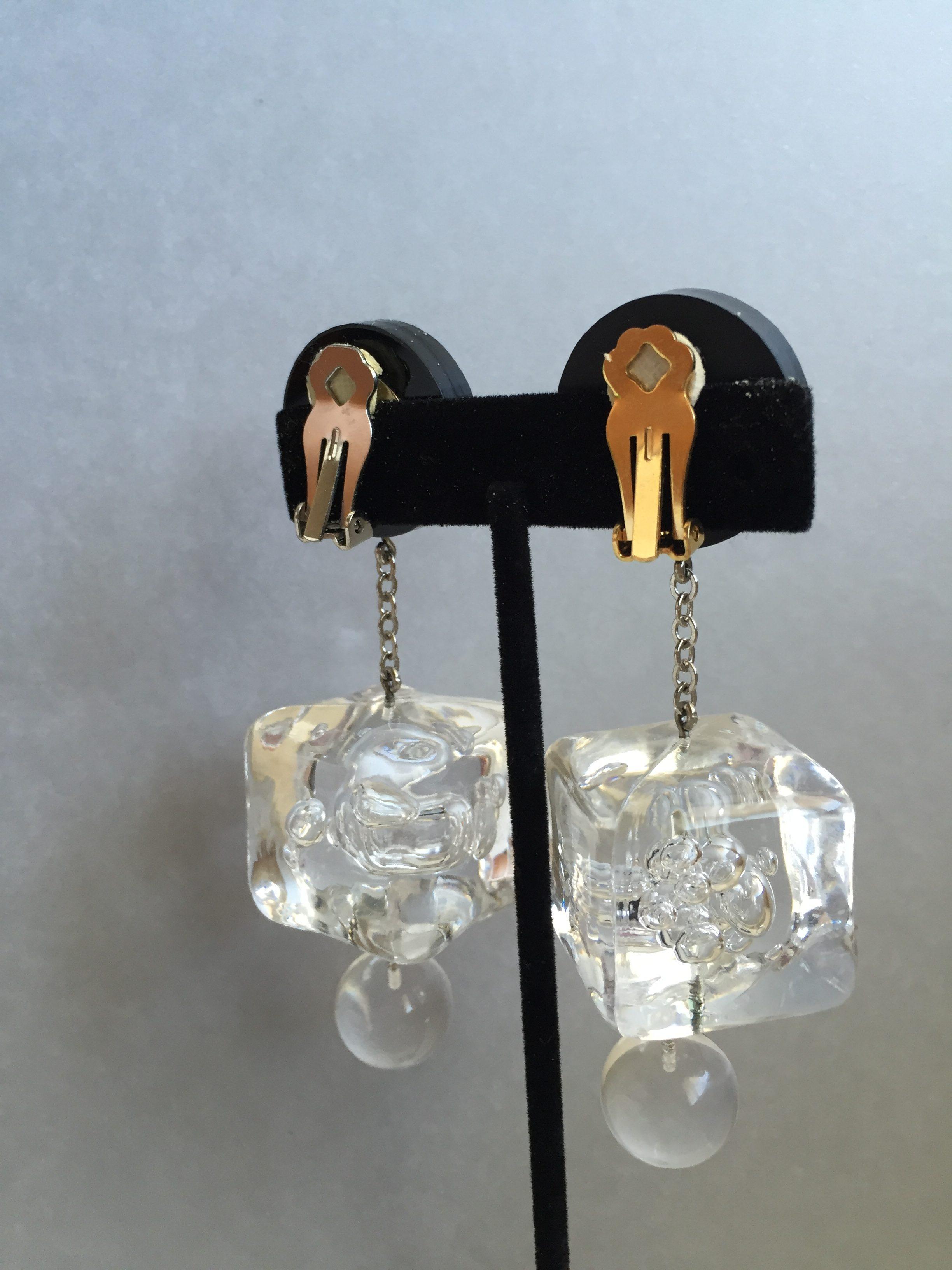 Judith Hendler Ice Cube Drop Earrings