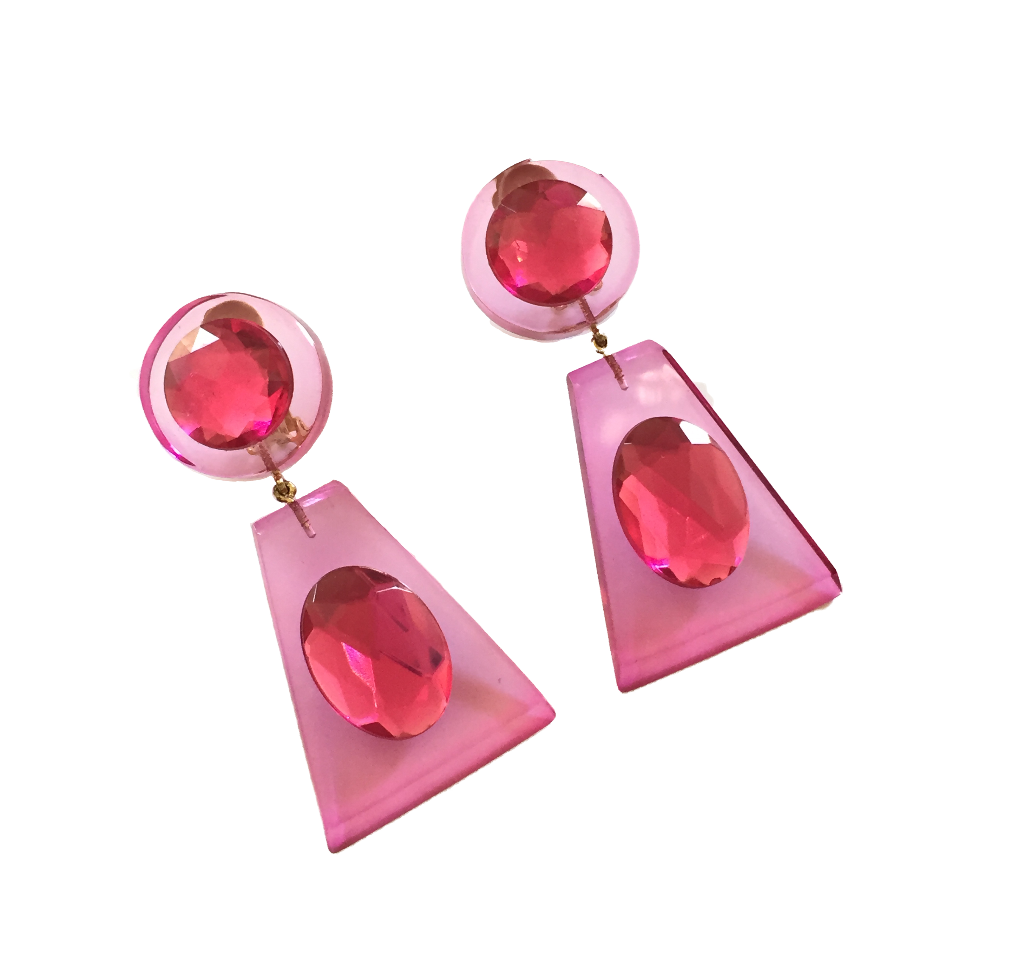 Judith Hendler Trapezoidal-shaped Drop Earrings with Faceted Resin Rhinestones