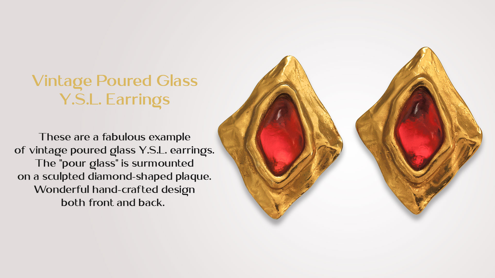 Vintage-Poured-Glass-Y.S.L.-Earrings