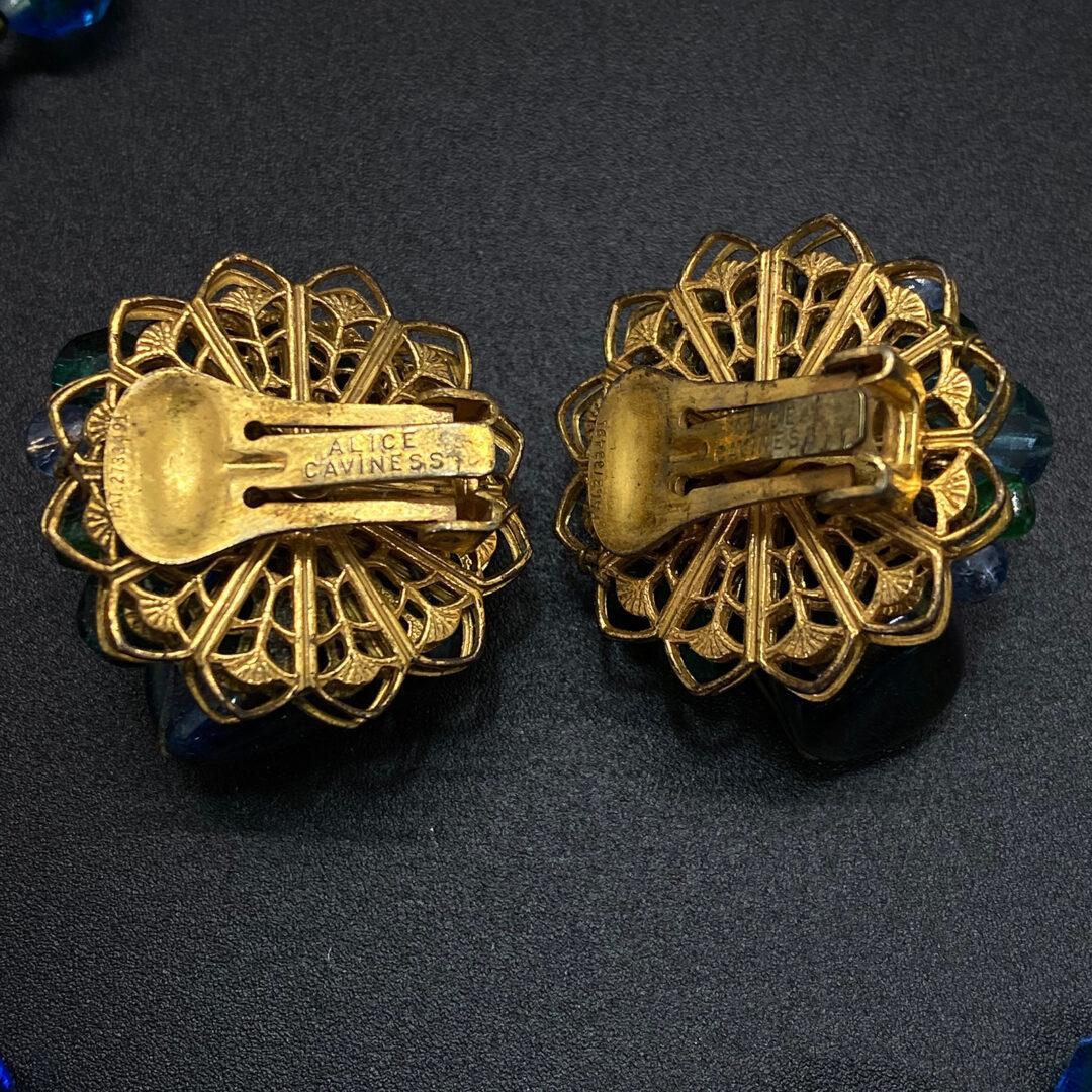 Alice Caviness Triple Strand Crystal Glass Necklace Set