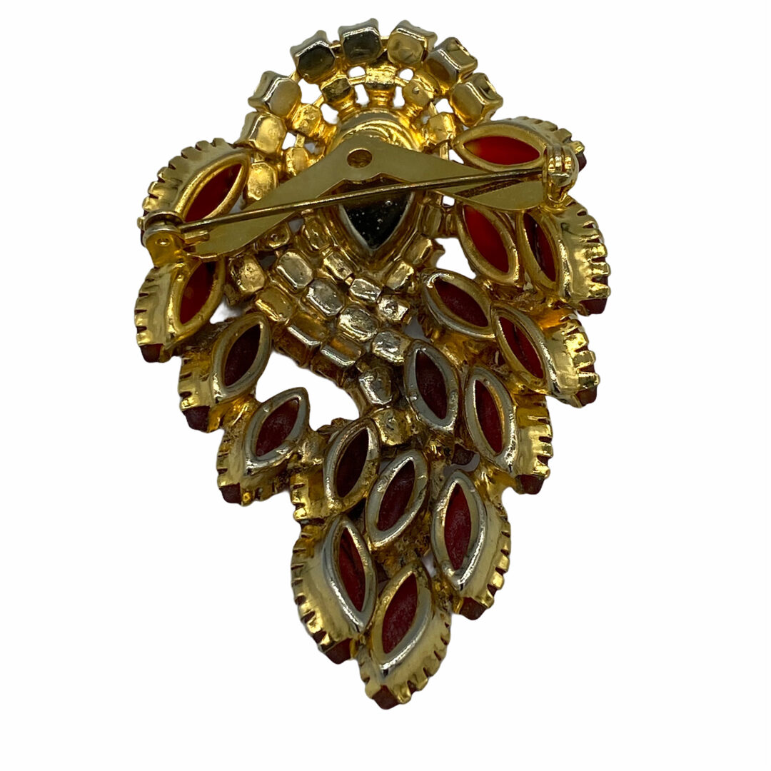 Beautiful Large Frosted Navette or Marquis-Cut Rhinestone Brooch