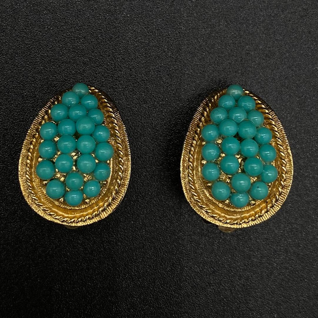 1950s faux turquoise clip earrings