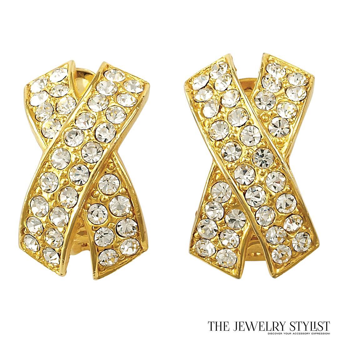 Bowed X Rhinestone Earrings