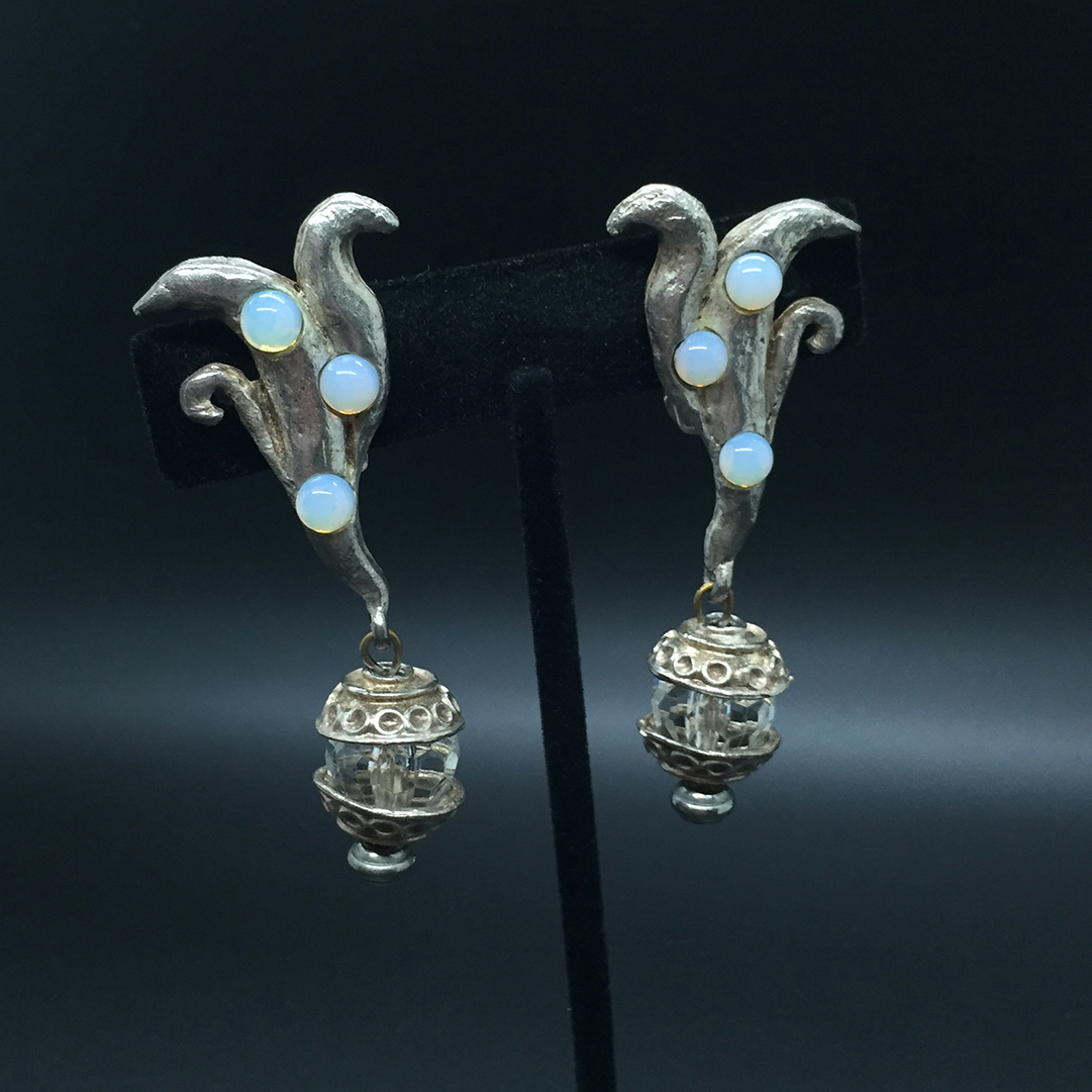 Kate Hines Brutalist Silver tone earrings with Faux Opals Cabochons