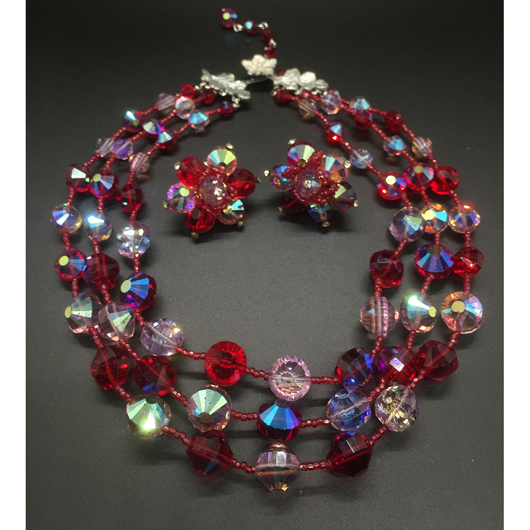 Triple-strand Vendome Necklace in Amazing Shades of Red and Violet