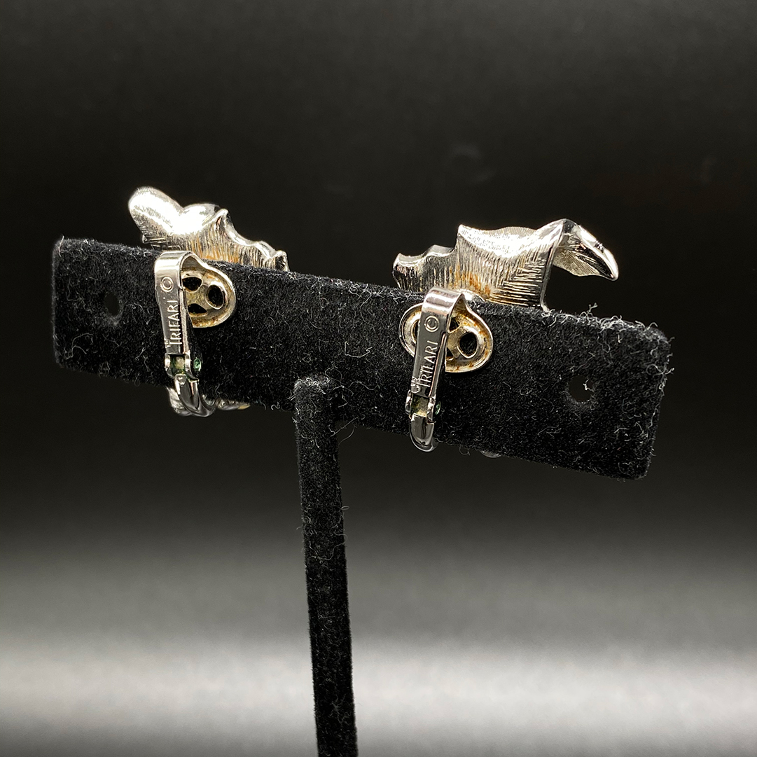 Trifari Faux Pearl Silver-tone earrings