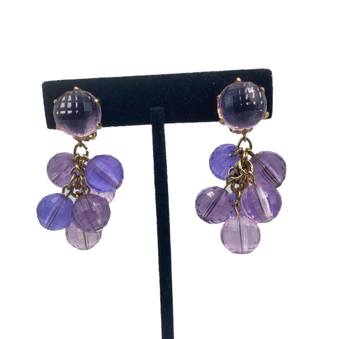 Vintage clip-back earrings, Faceted resin earrings, Purple earrings, Pendant earrings, Purple faceted resin earrings, 1960s earrings