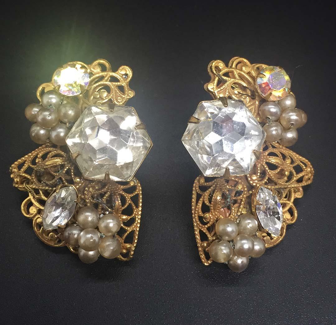 Vintage Robert Rhinestone Earrings