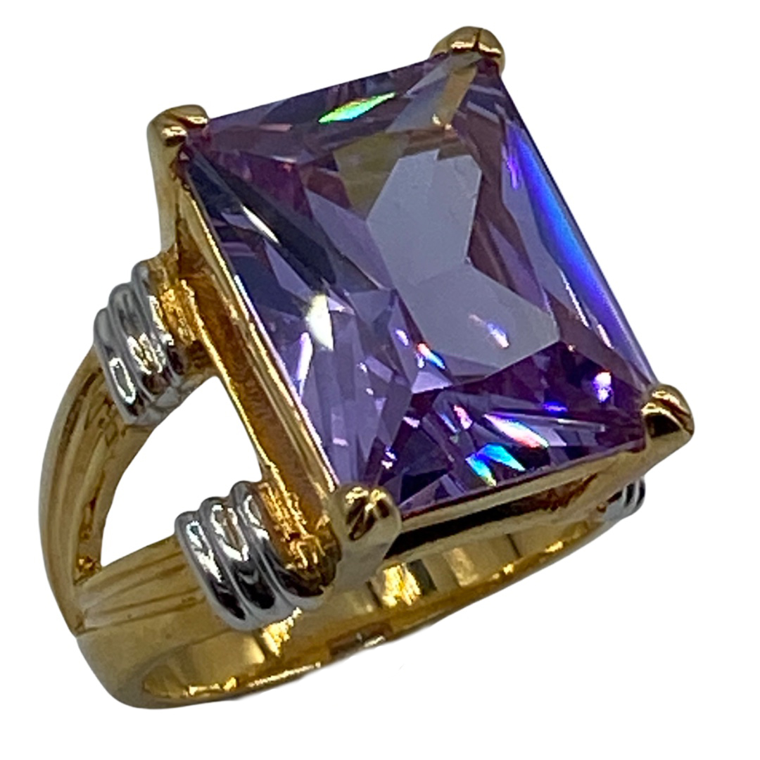 Vintage Faux Amethyst-Colored Rhinestone Cocktail Ring